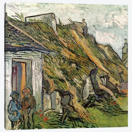 Thatched Cottages in Chaponval, Auvers-sur-Oise, 1890  Canvas Print #BMN798} by Vincent van Gogh Canvas Artwork