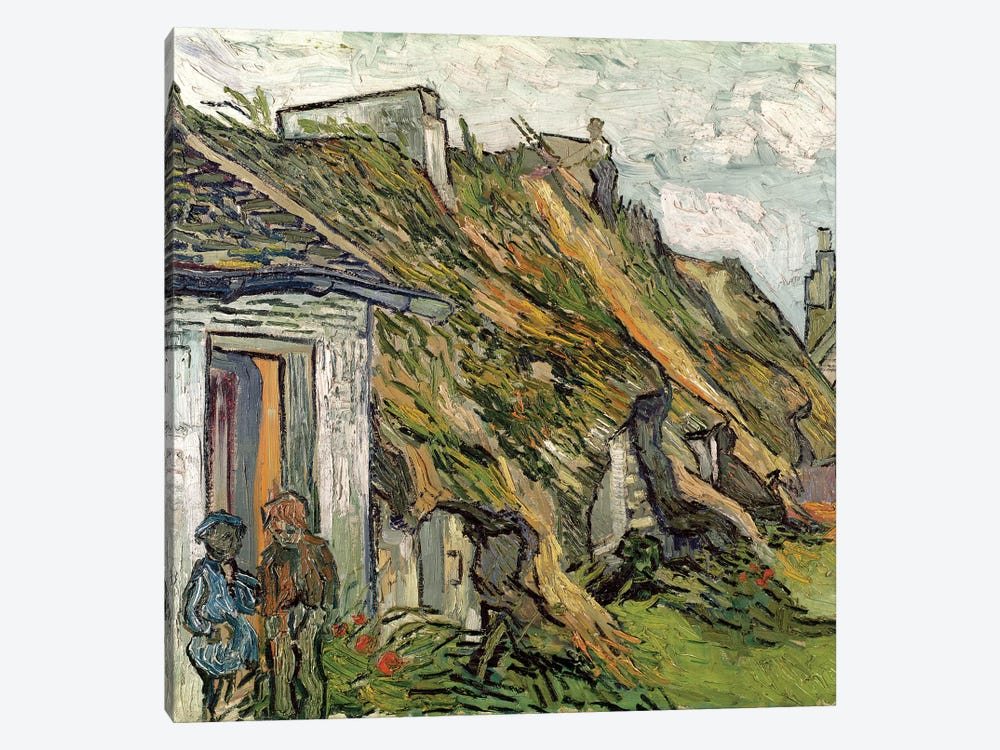 Thatched Cottages in Chaponval, Auvers-sur-Oise, 1890  by Vincent van Gogh 1-piece Canvas Art Print