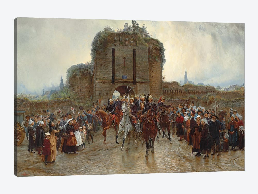 To The Front: French Cavalry Leaving A Breton City On The Declaration Of War, 1888-89 by Lady Butler 1-piece Art Print