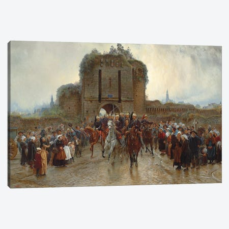 To The Front: French Cavalry Leaving A Breton City On The Declaration Of War, 1888-89 Canvas Print #BMN7991} by Lady Butler Canvas Art