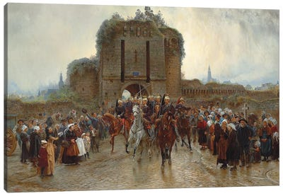 To The Front: French Cavalry Leaving A Breton City On The Declaration Of War, 1888-89 Canvas Art Print