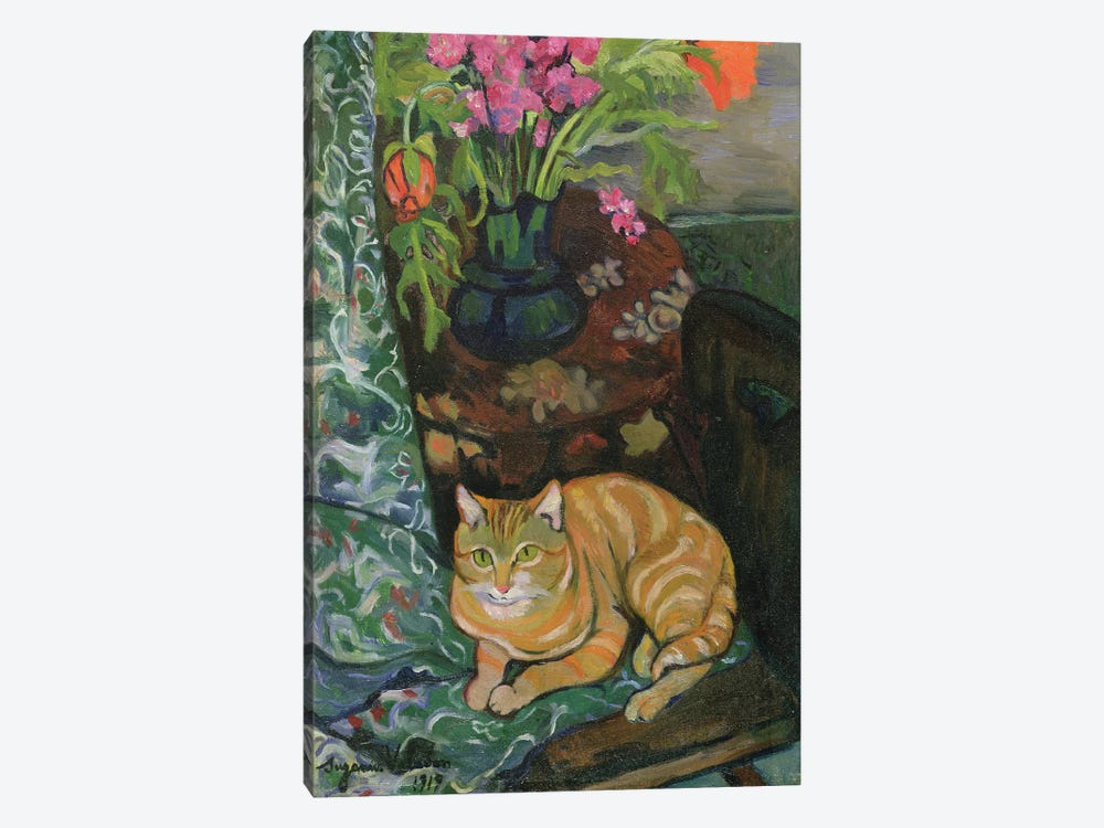 Bouquet And A Cat, 1919 by Marie Clementine Valadon 1-piece Canvas Print