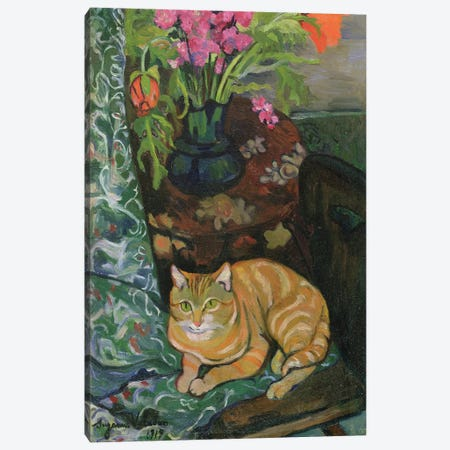 Bouquet And A Cat, 1919 3-Piece Canvas #BMN7995} by Marie Clementine Valadon Art Print
