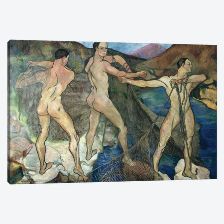 Casting The Net, 1914 Canvas Print #BMN7996} by Marie Clementine Valadon Canvas Art Print