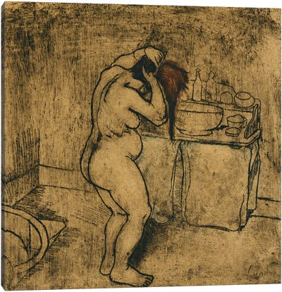 Catherine Nude Combing Her Hair (Catherine Nue Se Coiffant), 1895 Canvas Art Print