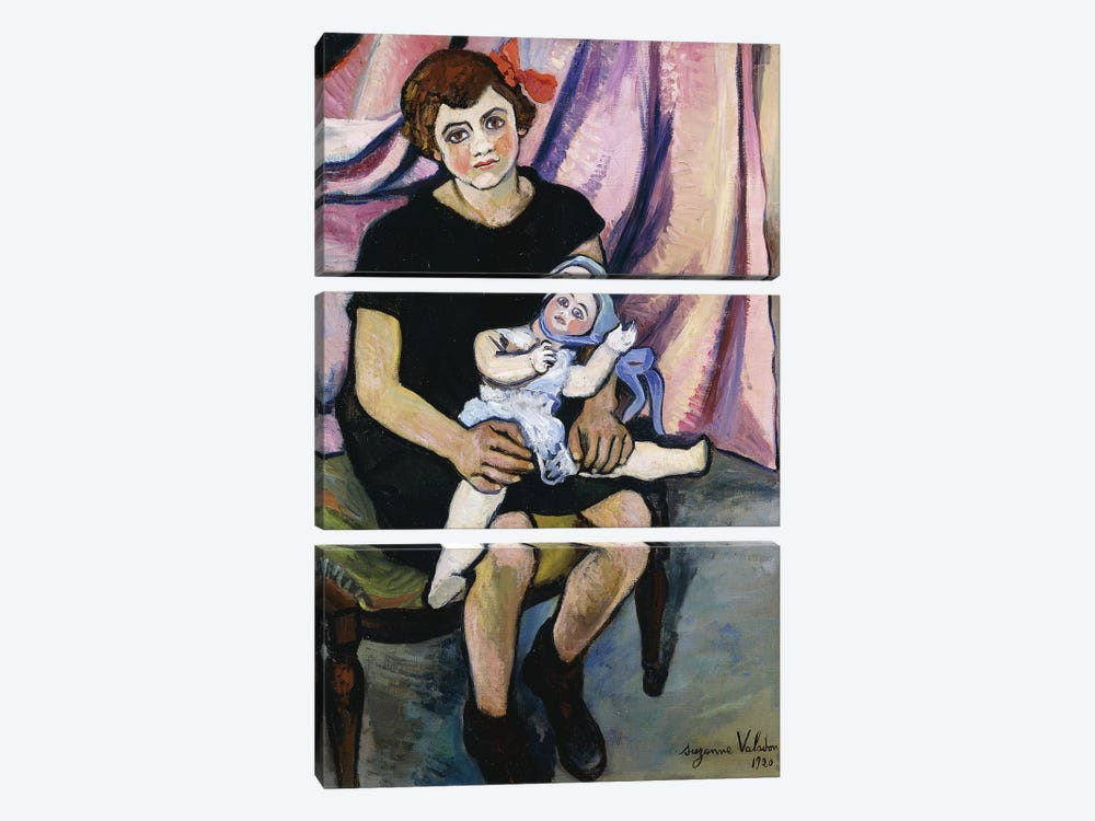 Girl With A Doll (Fillette a la Poupee), 1920 by Marie Clementine Valadon 3-piece Canvas Print