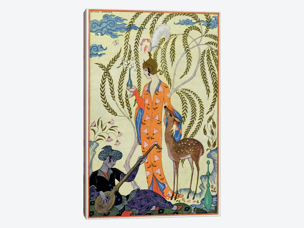 Persia, illustration from 'The Art of Perfume', pub. 1912 (pochoir print) by Georges Barbier 1-piece Canvas Print