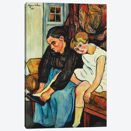 Grandmere Chaussant Une Fillette, 1931 Canvas Print #BMN8000} by Marie Clementine Valadon Canvas Wall Art