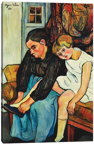 Grandmere Chaussant Une Fillette, 1931 Canvas Art Print