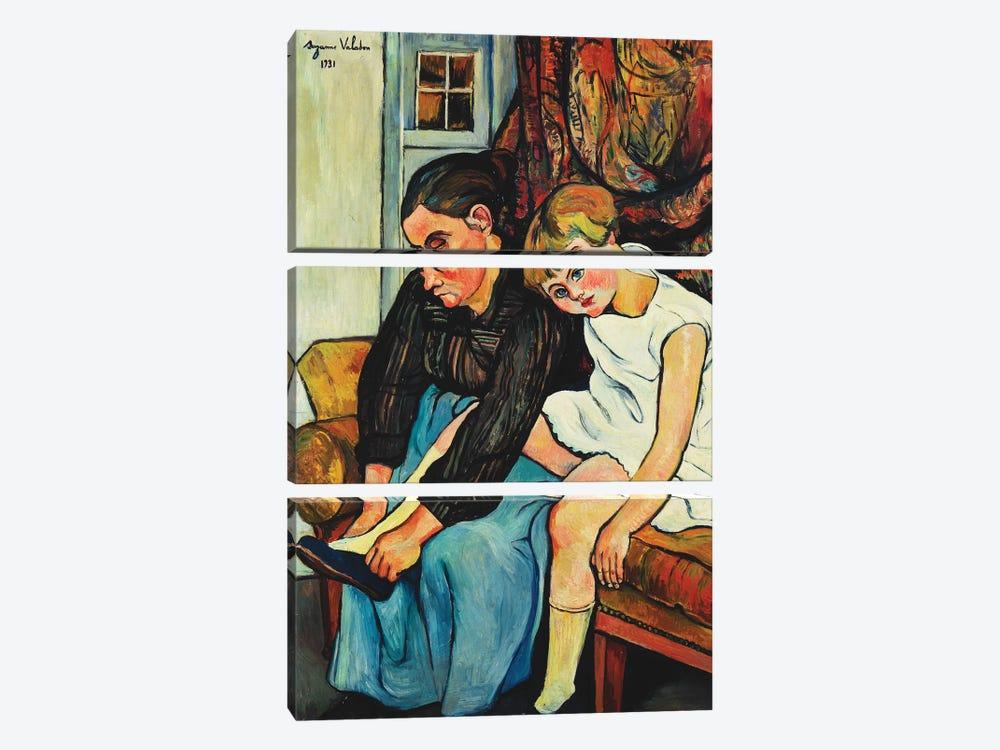 Grandmere Chaussant Une Fillette, 1931 by Marie Clementine Valadon 3-piece Canvas Wall Art