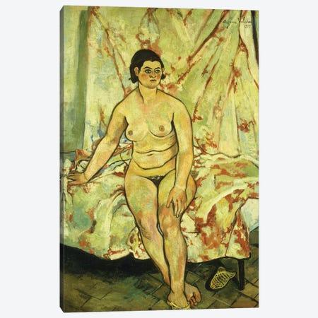 Nude Sat On The Edge Of A Bed; Nu Assis Sur Le Bord d'Un Lit, 1929 3-Piece Canvas #BMN8006} by Marie Clementine Valadon Canvas Art Print
