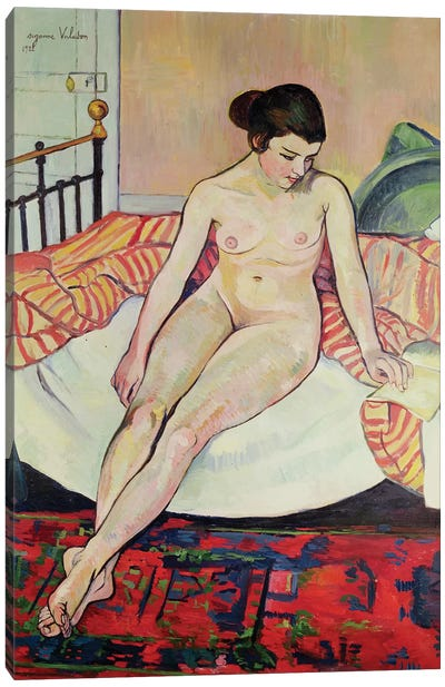 Nude With A Striped Blanket, 1922 Canvas Art Print