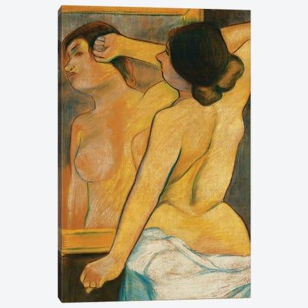 Nude Woman In Front Of A Mirror; Femme Nue Devant Un Miroir, 1904 3-Piece Canvas #BMN8008} by Marie Clementine Valadon Canvas Wall Art