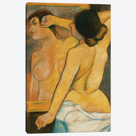 Nude Woman In Front Of A Mirror; Femme Nue Devant Un Miroir, 1904 3-Piece Canvas #BMN8008} by Marie Clementine Valadon Canvas Wall Art