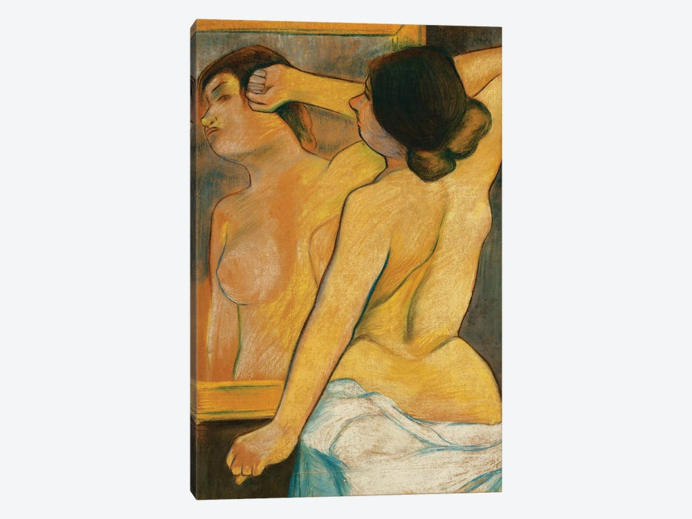 Nude Woman In Front Of A Mirror; Femme Nue Devant Un Miroir, 1904 by Marie Clementine Valadon 1-piece Canvas Wall Art