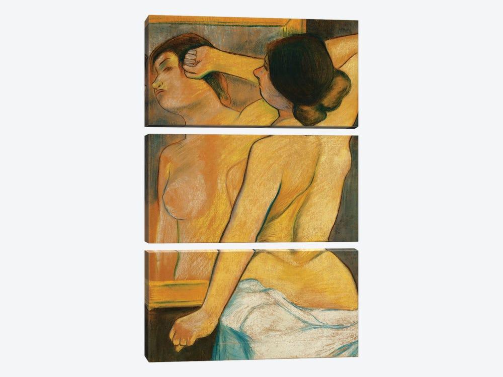Nude Woman In Front Of A Mirror; Femme Nue Devant Un Miroir, 1904 by Marie Clementine Valadon 3-piece Canvas Art