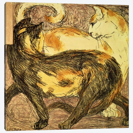 Two Cats  Canvas Print #BMN800} by Franz Marc Canvas Wall Art