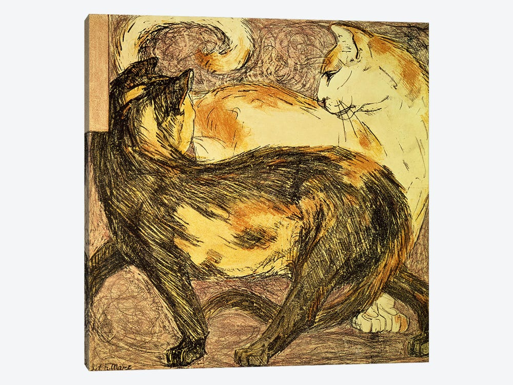 Two Cats  by Franz Marc 1-piece Canvas Art