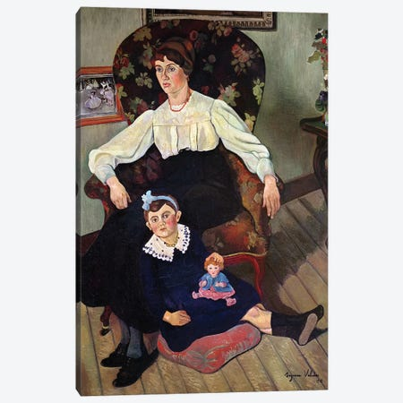 Portrait Of Marie Coca And Her Daughter, 1913 Canvas Print #BMN8012} by Marie Clementine Valadon Canvas Art Print