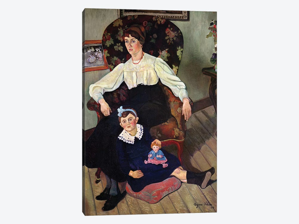 Portrait Of Marie Coca And Her Daughter, 1913 by Marie Clementine Valadon 1-piece Canvas Art Print