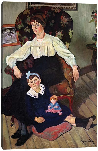Portrait Of Marie Coca And Her Daughter, 1913 Canvas Art Print