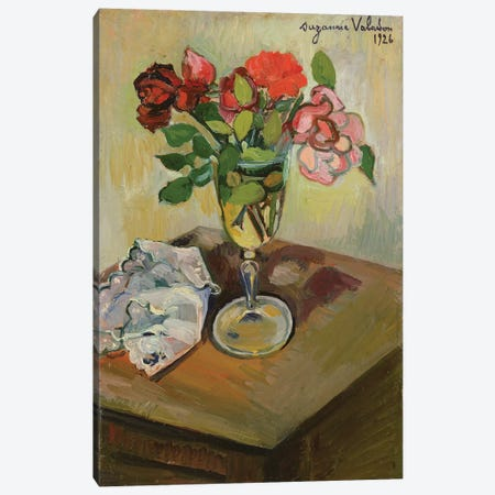 Roses In A Glass, 1926 Canvas Print #BMN8017} by Marie Clementine Valadon Canvas Art