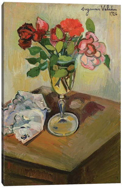 Roses In A Glass, 1926 Canvas Art Print