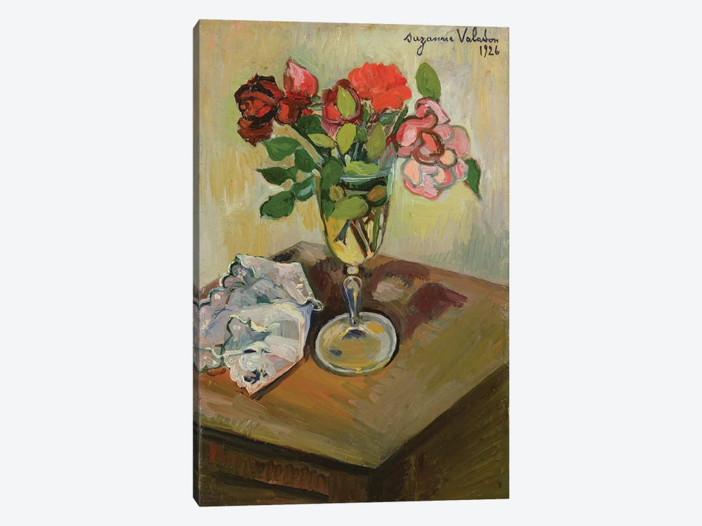 Roses In A Glass, 1926 by Marie Clementine Valadon 1-piece Canvas Art