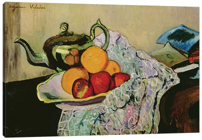 Still Life With Teapot And Fruit Canvas Art Print