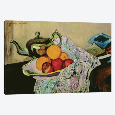 Still Life With Teapot And Fruit 3-Piece Canvas #BMN8022} by Marie Clementine Valadon Canvas Art