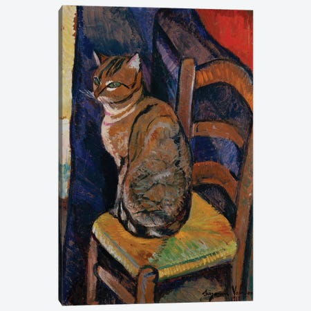 Study Of A Cat Sitting On A Chair (Etude D'Un Chat, Assis Sur Une Chaise) Canvas Print #BMN8023} by Marie Clementine Valadon Canvas Wall Art
