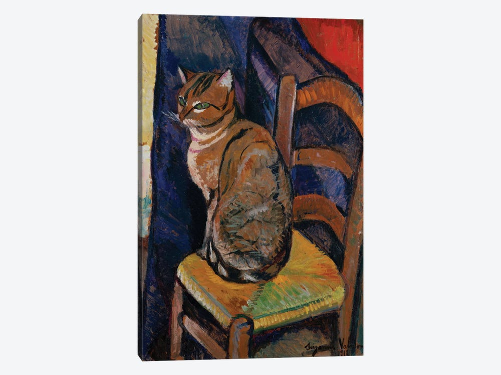 Study Of A Cat Sitting On A Chair (Etude D'Un Chat, Assis Sur Une Chaise) by Marie Clementine Valadon 1-piece Canvas Print