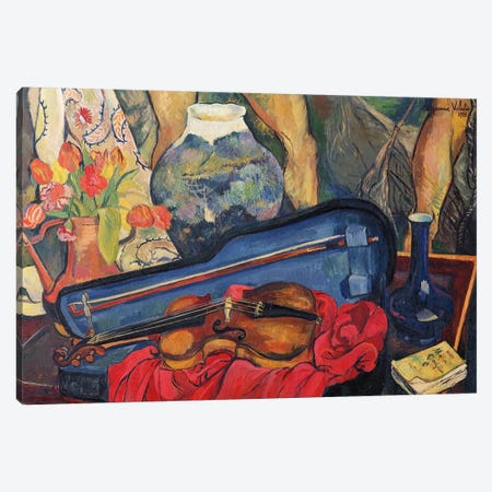 The Violin Case, 1923 3-Piece Canvas #BMN8027} by Marie Clementine Valadon Canvas Print