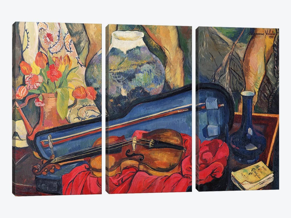 The Violin Case, 1923 by Marie Clementine Valadon 3-piece Canvas Print