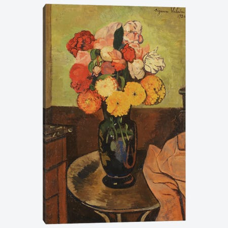 Vase Of Flowers On A Round Table (Vase de Fleurs Sur Une Table Ronde), 1920 Canvas Print #BMN8028} by Marie Clementine Valadon Canvas Artwork