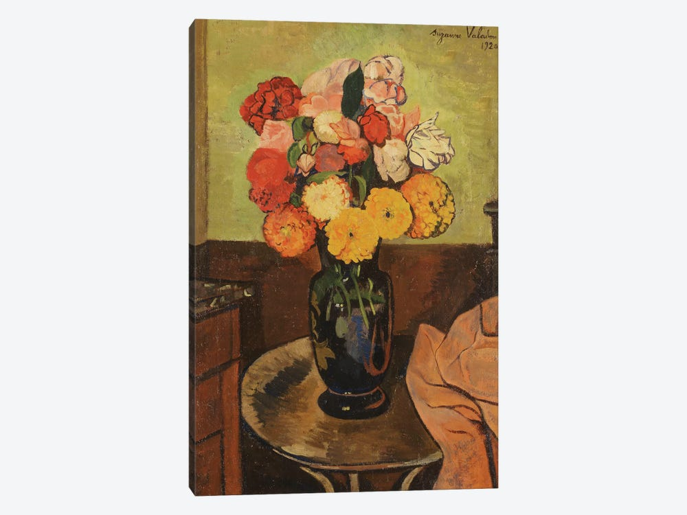 Vase Of Flowers On A Round Table (Vase de Fleurs Sur Une Table Ronde), 1920 by Marie Clementine Valadon 1-piece Canvas Wall Art