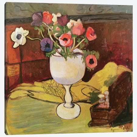 Vase Of Flowers, Anemones In A White Glass 3-Piece Canvas #BMN8029} by Marie Clementine Valadon Canvas Wall Art