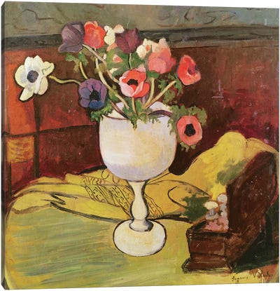Vase Of Flowers, Anemones In A White Glass Canvas Art Print