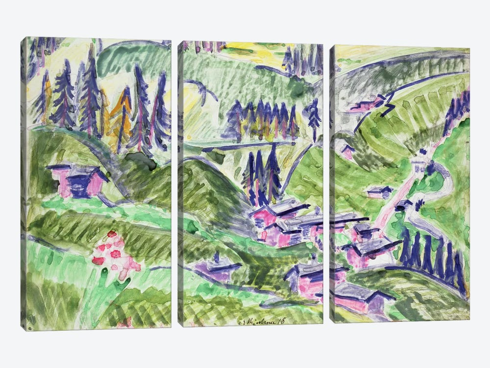 Landscape, 1918  by Ernst Ludwig Kirchner 3-piece Canvas Wall Art