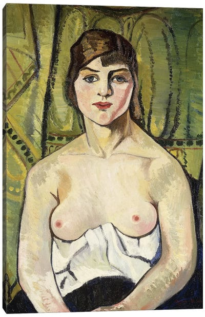 Woman With Bare Breasts (Self Portrait) (Femme Aux Seins Nus (Autoportrait)), 1917 Canvas Art Print