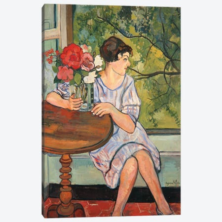 Young Girl In Front Of A Window, 1930 Canvas Print #BMN8032} by Marie Clementine Valadon Art Print