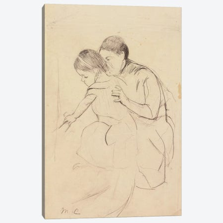 Baby With Left Hand Touching A Tub, Held By Her Nurse, c.1891 Canvas Print #BMN8036} by Mary Stevenson Cassatt Canvas Wall Art
