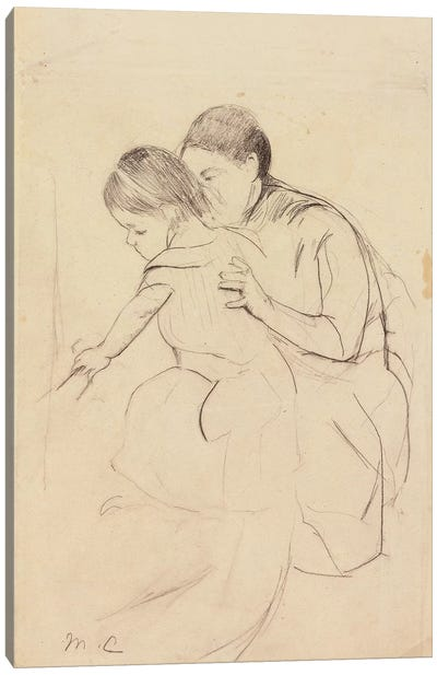 Baby With Left Hand Touching A Tub, Held By Her Nurse, c.1891 Canvas Art Print