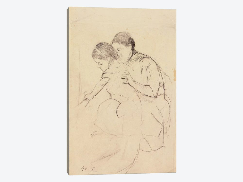 Baby With Left Hand Touching A Tub, Held By Her Nurse, c.1891 by Mary Stevenson Cassatt 1-piece Canvas Art Print