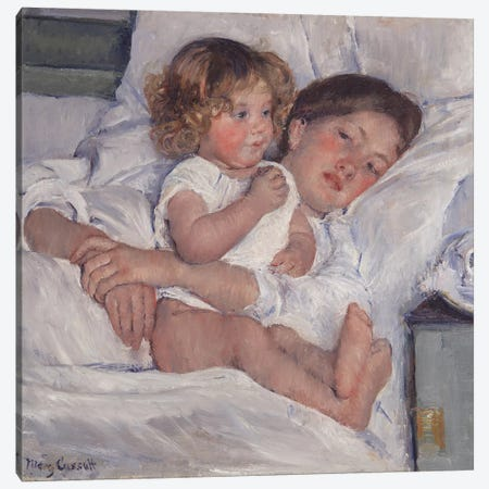 Breakfast In Bed, 1897 Canvas Print #BMN8037} by Mary Stevenson Cassatt Canvas Artwork