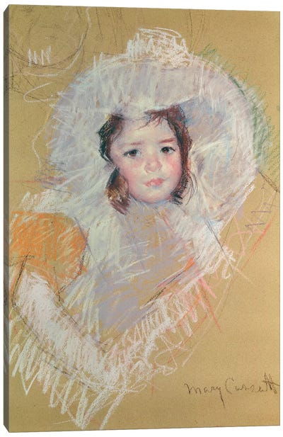 Bust Of A Young Girl Or Margot Lux With A Large Hat Canvas Art Print