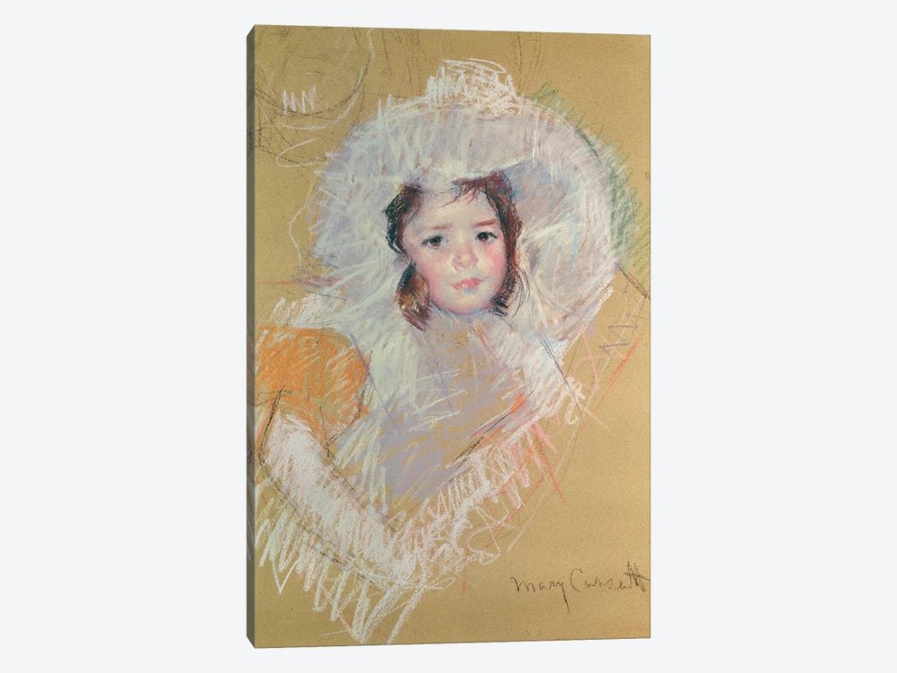 Bust Of A Young Girl Or Margot Lux With A Large Hat 1-piece Canvas Art