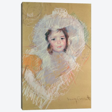 Bust Of A Young Girl Or Margot Lux With A Large Hat 3-Piece Canvas #BMN8039} by Mary Stevenson Cassatt Canvas Print