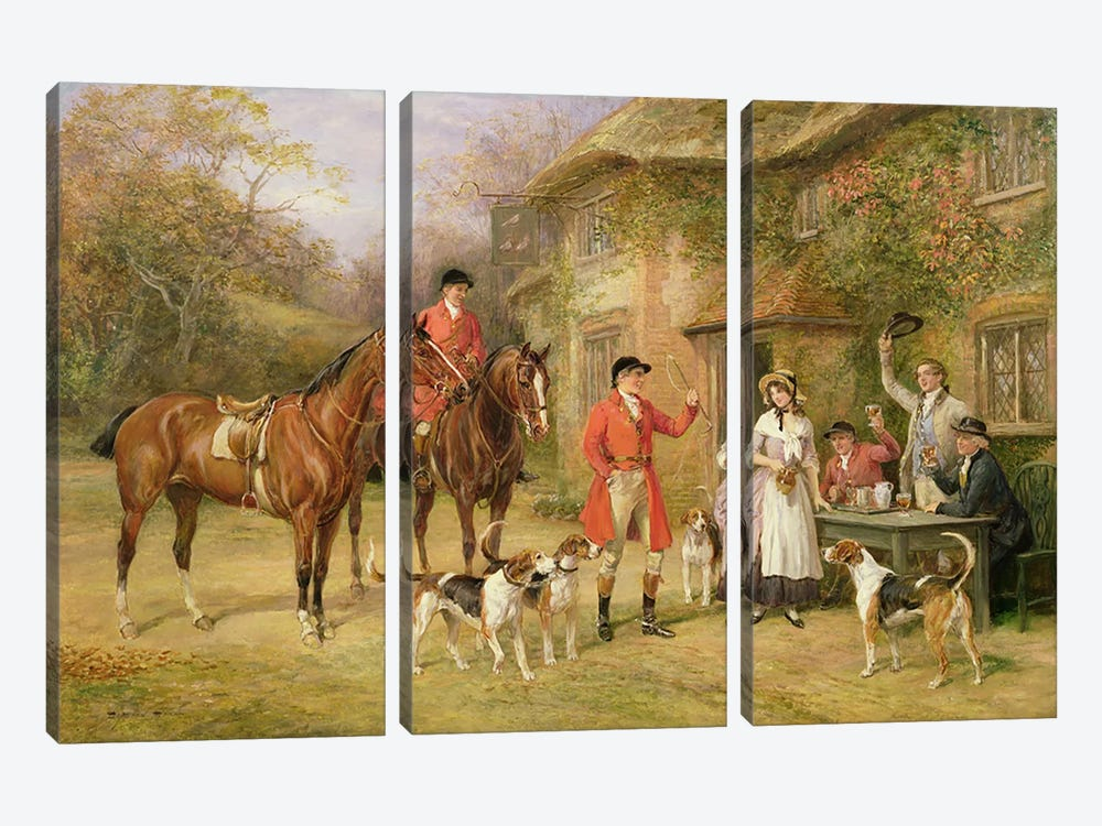 A Meeting at the Three Pigeons by Heywood Hardy 3-piece Canvas Print