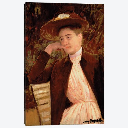 Celeste In A Brown Hat, 1891 Canvas Print #BMN8040} by Mary Stevenson Cassatt Canvas Wall Art